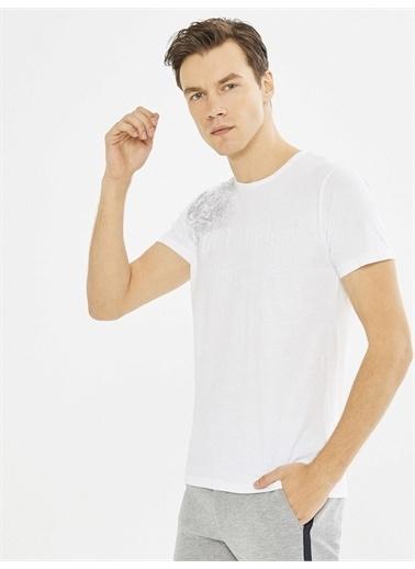 MCL MCL Bisiklet Yaka Baskılı %100 Pamuk Slim Fit Tişört Beyaz
